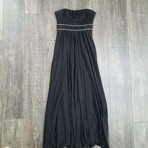 BCBG Maxazria Halter Black Pleated Gown Dress